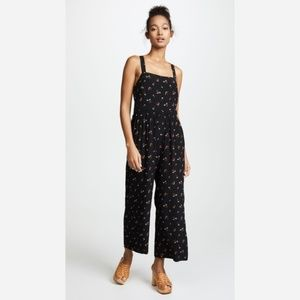 Madewell Smocked Crop Jumpsuit in Flower Toss